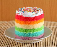Colorful rainbow cakes on white plate Stock Images