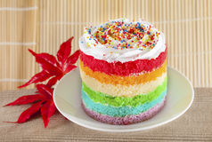 Colorful rainbow cakes on white plate with red maple leaf. Royalty Free Stock Photos