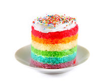 Colorful rainbow cakes on white plate.on white background Royalty Free Stock Image