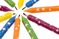 Colorful Rainbow Candles Stock Photo