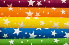 Colorful Rainbow Candles With Stars stock photo