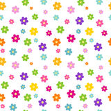 Colorful rainbow cartoon daisy flowers seamless pattern background illustration Stock Photography