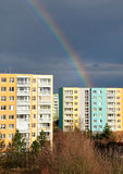 Colorful rainbow, city, Brno, Czech Republic Stock Photos