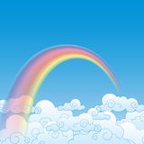 Colorful Rainbow With Cloud, Illustration Royalty Free Stock Photo