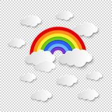 Colorful rainbow and clouds. Illustration Royalty Free Stock Images