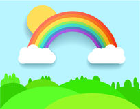 Colorful Rainbow With Clouds, Grass and Field. Vector Illustration. Colorful Rainbow With Clouds, Grass and Field. Vector Lanscape Illustration. Eps 10 Stock Images