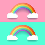 Colorful Rainbow With Clouds. Vector Illustration Set Royalty Free Stock Images
