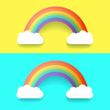 Colorful Rainbow With Clouds. Vector Illustration Set Stock Photography