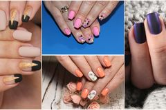 Colorful rainbow collection of nail designs for summer and winte royalty free stock image