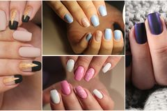 Colorful rainbow collection of nail designs for summer and winte stock images