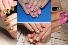 Colorful rainbow collection of nail designs for summer and winte royalty free stock photos