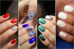 Colorful rainbow collection of nail designs stock images