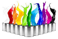 Colorful rainbow color dose splash. Collage isolated on white background royalty free stock image