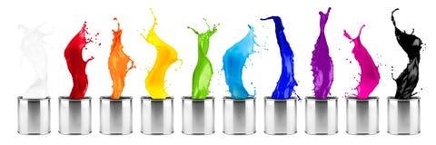 Colorful rainbow color dose splash  row Royalty Free Stock Photos