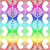 Rainbow heart shapes seamless pattern. Colorful rainbow colors hearts in heart distribution pattern. Seamless tile background Stock Images