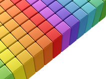 Colorful rainbow cubes. 3d render on white background Royalty Free Stock Images