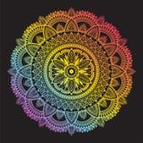 Colorful rainbow ethnic mandala on black background. Circular decorative pattern. royalty free stock photo