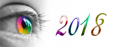 2018 and colorful rainbow eye header, 2018 new year. Greetings concept royalty free stock images