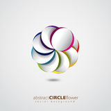 Colorful rainbow flower from circles with shadow background Stock Images