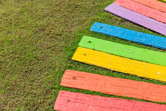 Colorful rainbow foot path garden. Stock Images