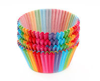 Colorful rainbow forms to make cupcakes from paper isolated on w Stock Photography
