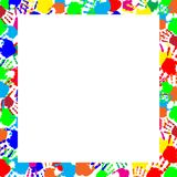 Colorful rainbow frame multicolored handprints border. Colorful rainbow frame work with empty copy space for text or image and multicolored handprints border Royalty Free Stock Image