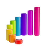 Colorful, rainbow glossy bar graph. Colorful, rainbow glossy bar growth graph isolated on white stock illustration