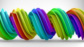 Colorful rainbow gradient twisted spiral shape 3D rendering. Colorful rainbow gradient twisted spiral shape. Computer designed abstract geometric 3D rendering Royalty Free Stock Images