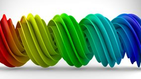 Colorful rainbow gradient twisted spiral shape 3D rendering. Colorful rainbow gradient twisted spiral shape. Computer designed abstract geometric 3D rendering Royalty Free Stock Photography