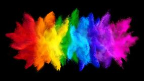 Colorful rainbow holi paint color big  double powder explosion isolated dark black wide panorama background. peace rgb beautiful