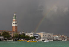 A colorful rainbow just after the storm in Venice Royalty Free Stock Photography