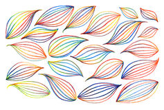 Colorful rainbow leaf line art background set vector Stock Photo