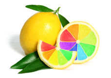 Colorful rainbow lemons fruit stock photography