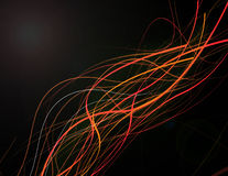 Colorful rainbow lines. Compositon design of colorful rainbow lines on black background royalty free stock image