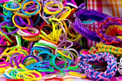 Colorful Rainbow loom bracelet rubber bands fashion. Close up Royalty Free Stock Image