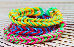 Colorful Rainbow loom bracelet rubber bands fashion close up.  Stock Image
