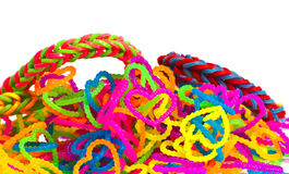 Colorful Rainbow loom bracelet rubber bands fashion close up wit Royalty Free Stock Images