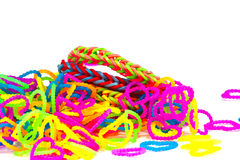 Colorful Rainbow loom bracelet rubber bands fashion close up wit Stock Images