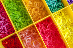 A Colorful Rainbow loom rubber bands in a box Stock Photo