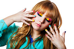 Colorful rainbow make-up on woman eyes Royalty Free Stock Photography
