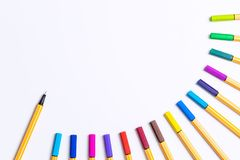 Colorful rainbow marker pen on white copy space Royalty Free Stock Photography