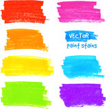 Colorful rainbow marker vector paint stains Royalty Free Stock Photos