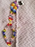 Colorful Rainbow Necklace. Jewellery Home Made Stock Photo