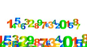 Colorful rainbow numbers Stock Image