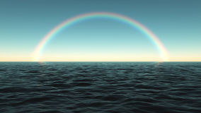 Colorful rainbow over the sea in the afternoon stock illustration