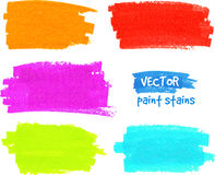 Colorful rainbow paintbrush vector strokes Royalty Free Stock Images