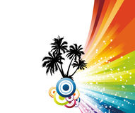 Colorful rainbow palm advertisement Stock Images