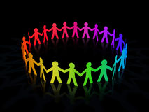 Colorful rainbow paper men circle. On dark background Royalty Free Stock Photography