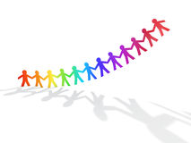 Colorful rainbow paper men fly. On white background Stock Photos