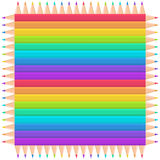 Colorful rainbow pencil frame vector Royalty Free Stock Images